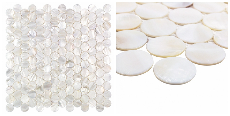 Decorstone24 Mother Of Pearl Penny Round Mosaic White Backsplash Wall Tile