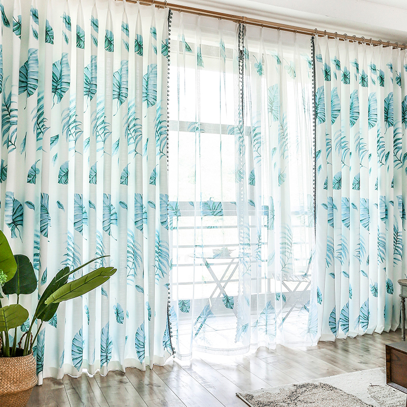 New design Plant Linen Leaves Sun Resistant Printed Window Tulle Blackout Curtains Drapes Panels For Fitting Room Decoration