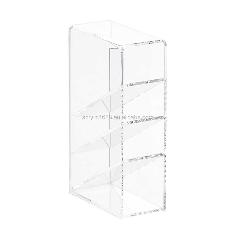 Hot Sale Slanted 4-Section Clear Acrylic Pen Holder /Pen Container