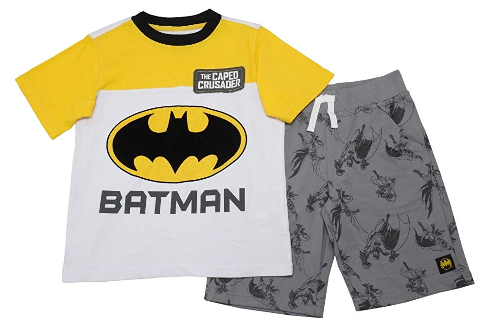 a2b04418 Get Quotations · Batman & DC Comics Boys Short Sleeve Shirt & Shorts  2-Piece Set, Yellow