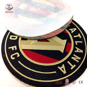 customised round woven iron on labels patches for jeans