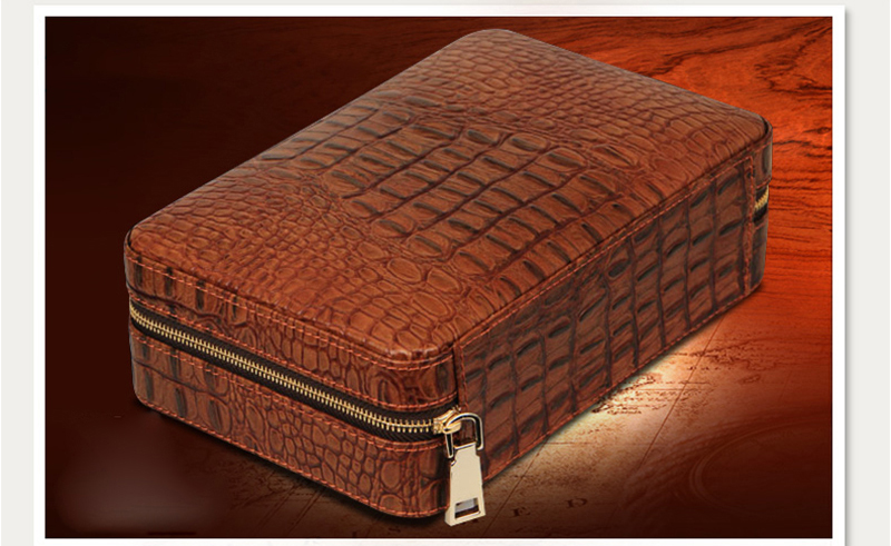 Hot Sale Travel Pu Leather Cover Pine Wood Cigarette Humidor Case