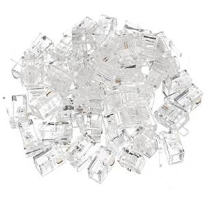 BephaMart 50Pcs Durable 2Pin RJ11 RJ-11 Modular Plug Telephone Cable LAN Connector Shipped and Sold by BephaMart