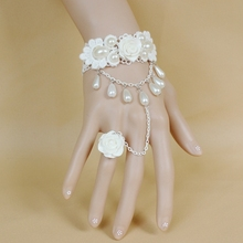 Queena Wedding Accessories Lolita Princess Pearl White Rose Lace Bracelet Ring