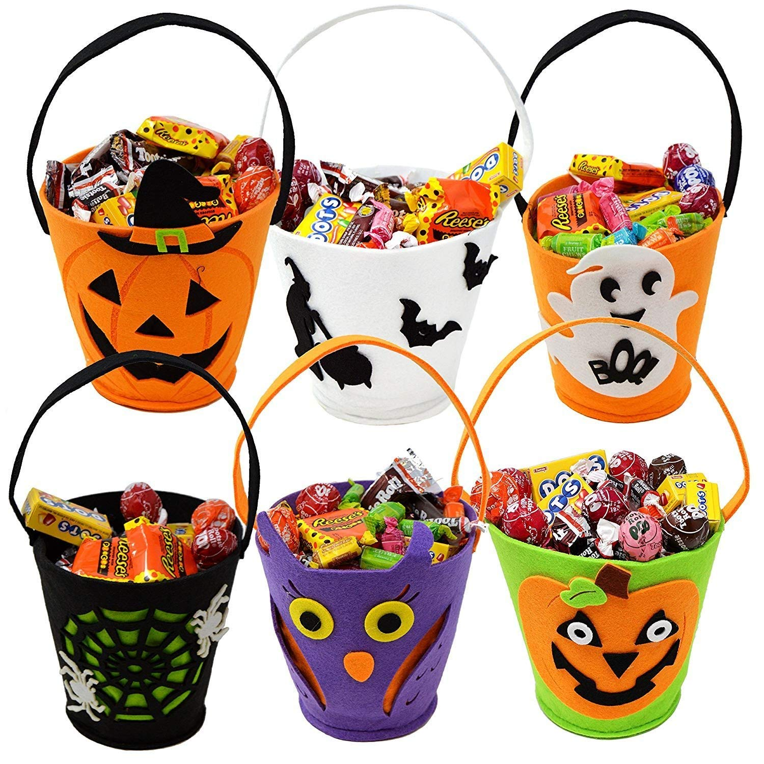 BELUPAI 6 PCS Halloween Felt Material Trick or Treat Candy Dessert Bag, 6.5In Unique Funny design Pumpkin Hand bag Creepy Flying Ghost Hanging Skeleton Ghost Box Kid's Bag Candy Gifts