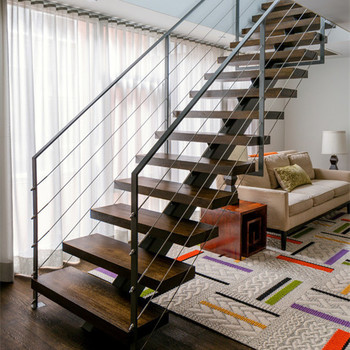 Single Stringer Stair With Wood Steps And Metal Railing Design Buy