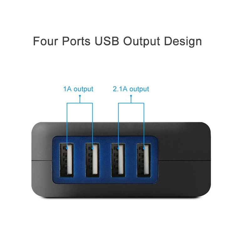 mini portable 4 port 4A CE fast mobile USB phone charger