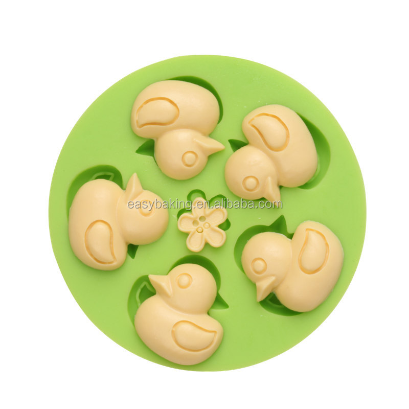 ES-0302 Five Little Duck Round Silicone Molds Fondant Mould for cake decorating.jpg