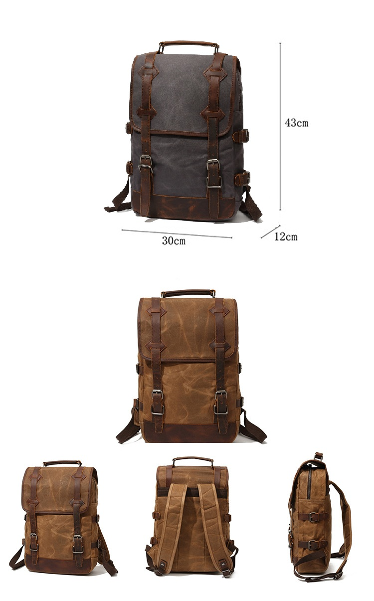 Elegant design waterproof outdoor waxed canvas leather trim unisex rucksack knapsack bagpack satchel back pack backpack bag