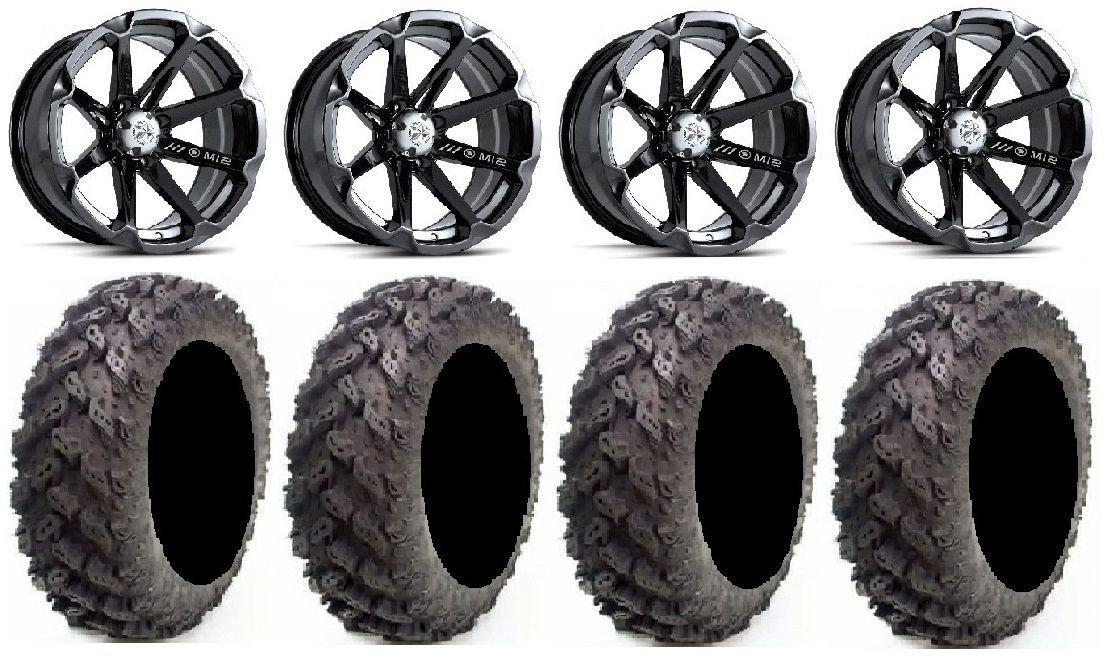 "Bundle - 9 Items: MSA Black Diesel 14"" ATV Wheels 28"" Reptile Tires [4x110 Bolt Pattern 10mmx1.25 Lug Kit]"
