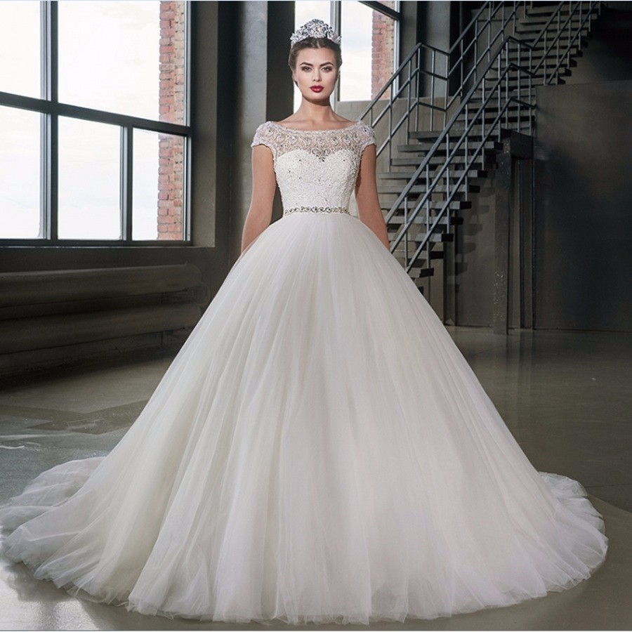 2017 Queen Wedding Dresses Ball Gown Cap Sleeve Lace With