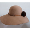 Ladies' tan color 100% wool felt hat, floppy hat, wide brim Christmas hat banded with fake fur ball