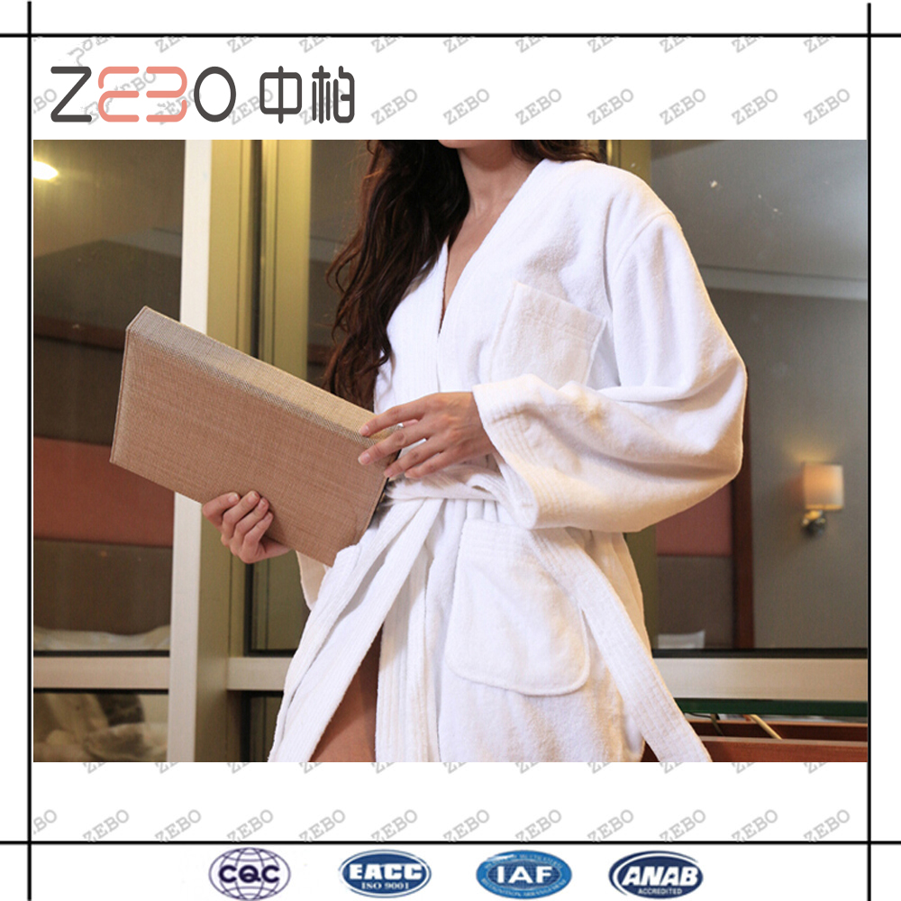 100% Cotton Towel Fabric Star Hotel Used Wholesale White Bathrobe Manufacturer
