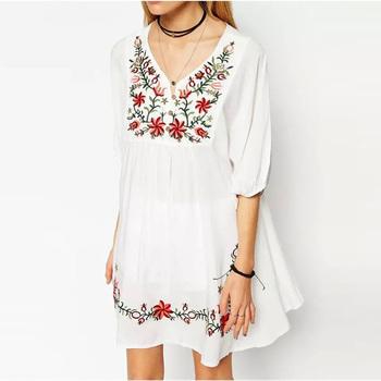 e504b5eca21b7 2017 Embroidered Flora Vintage Style Boho Chic Peasant Dress - Buy  Embroidered Flora Dress,Vintage Style Boho Dress,Chic Peasant Dress Product  on ...