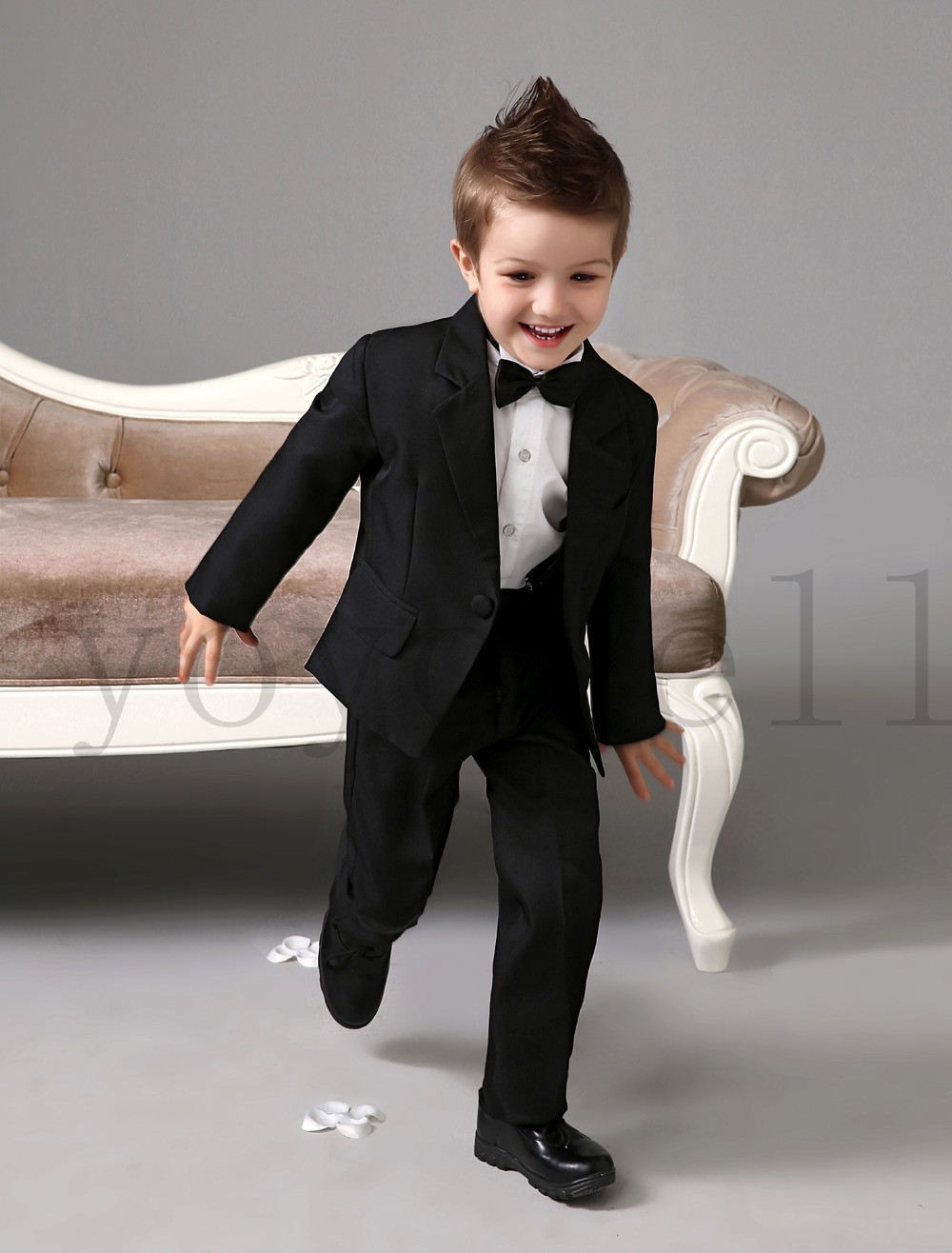 2019 Four Pieces Wedding Black Ring Bearer Suits Cool Boys
