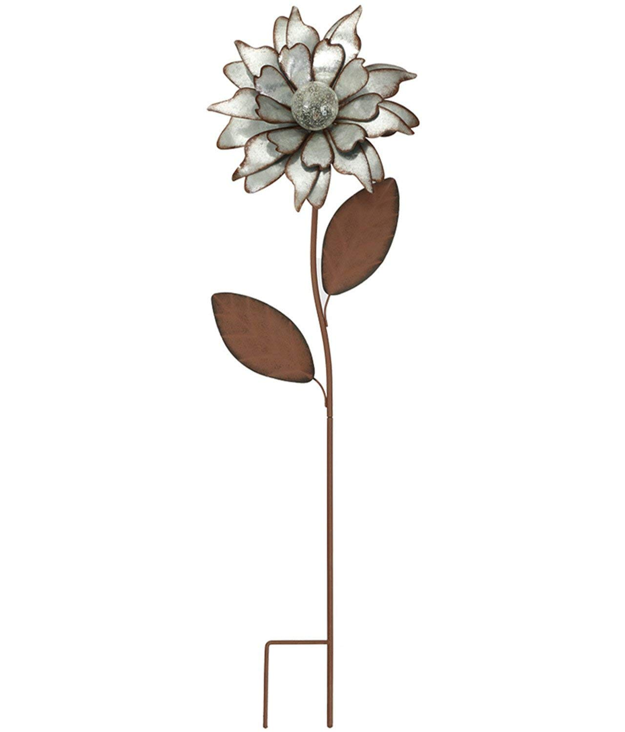 """CEDAR HOME Galvanized Floral Garden Stake Outdoor Glow in Dark Water Proof Metal Stick Art Ornament Decor for Lawn Yard Patio, 12"""" W x 3.5"""" D x 35"""" H, Rose"""