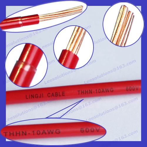 UL TUV Certified Red Building wire Stranded Bare <strong>Copper</strong> 8AWG/10AWG/12AWG/14AWG Nylon jacket THHN electric cable