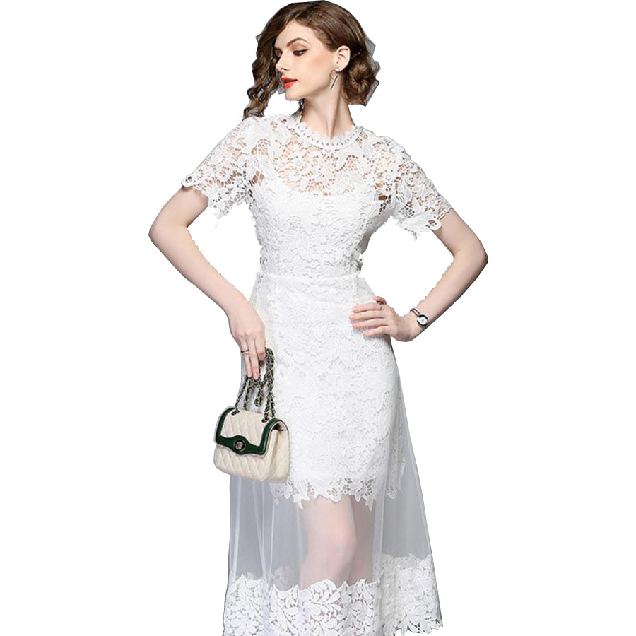 2018 Wholesale Fashion New Design Summer White Lace Elegant Transparent Bodycon Sexy Lady <strong>Dress</strong> with Hollow Out