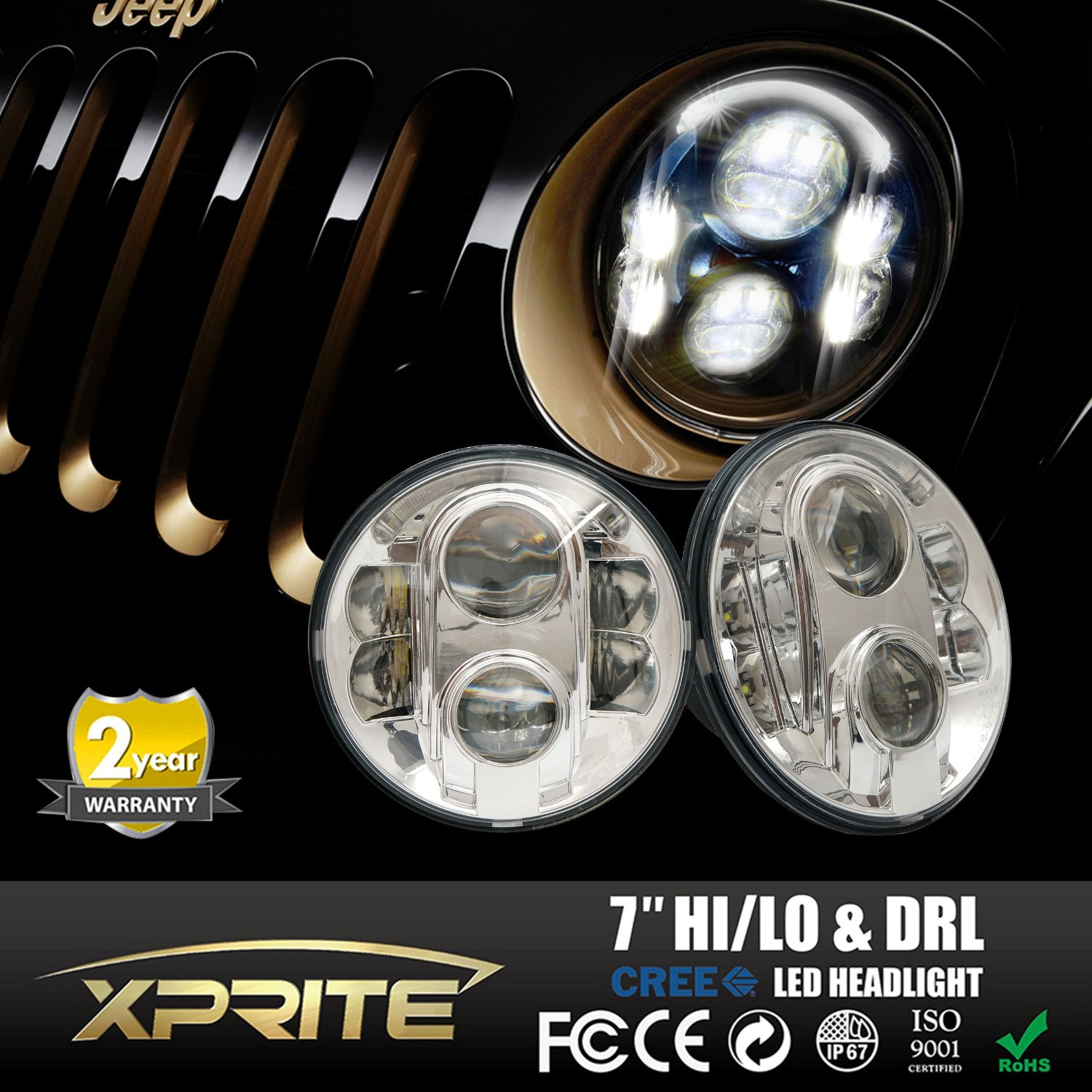 """Xprite 7"""" Inch Round 120W 10400 Lumens Hi/Lo Beam 10W Cree XT-E Chip LED Chrome Headlights With Halo Ring Angel Eyes Crystal DRL For Jeep Wrangler Offroad Vehicles"""