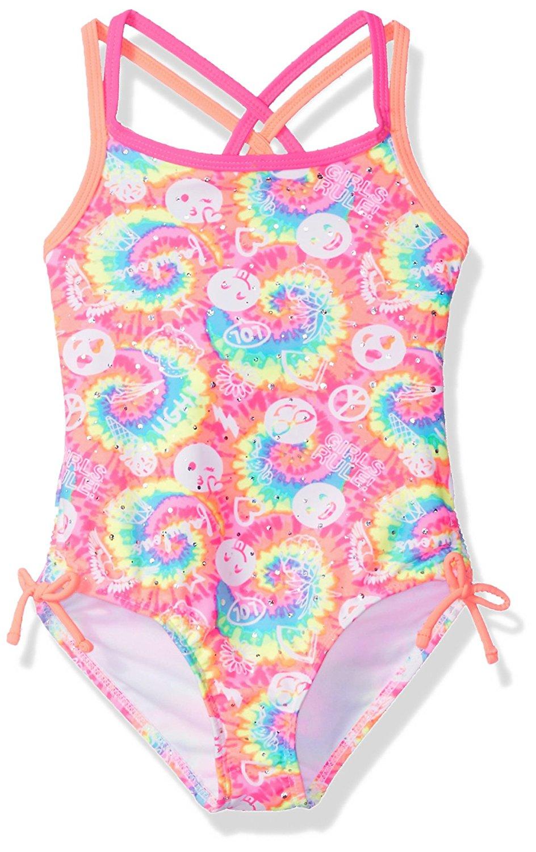 Angel Beach Little Girls' One Piece Tye Dye Swimsuit with Emojis
