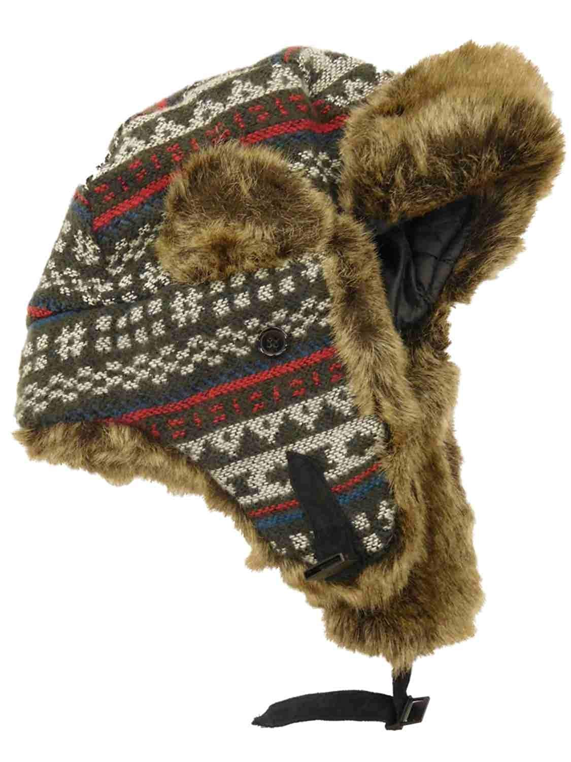 93893a35 Get Quotations · Womens Blue Grey White & Red Cross Stitch Pattern Faux Fur  Trapper Hat