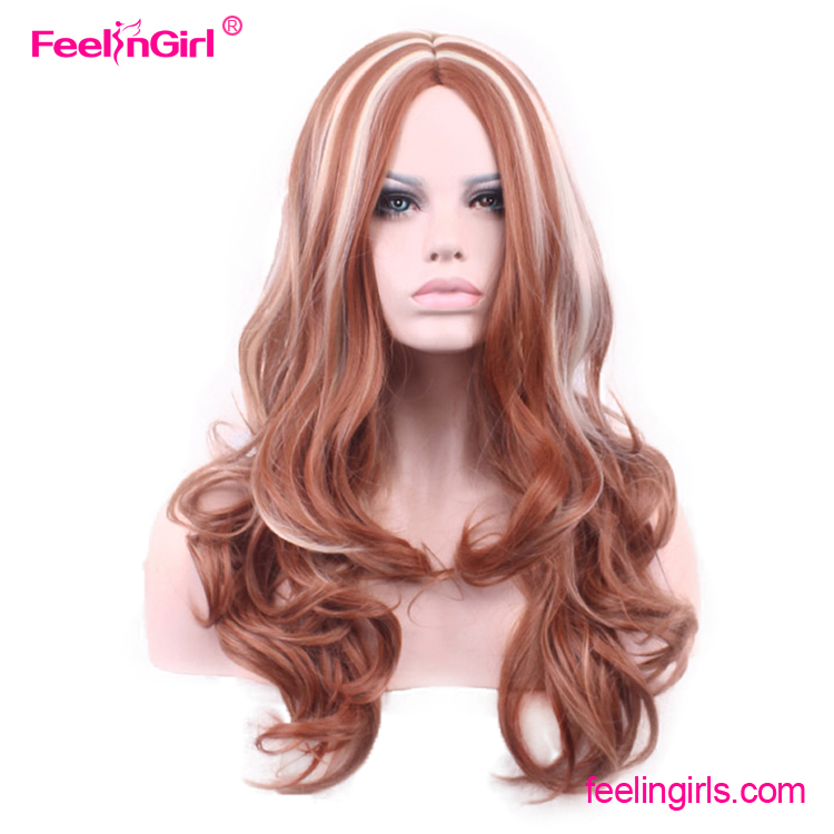 Free Sample Long Carve Curls Natural Women Hair Synthetic Wig