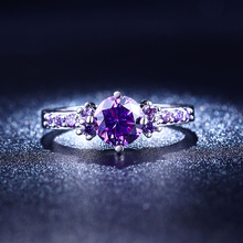 Hot sell Amethyst white gold plated weddings rings for women inlay AAA cubic zirconia diamond luxury