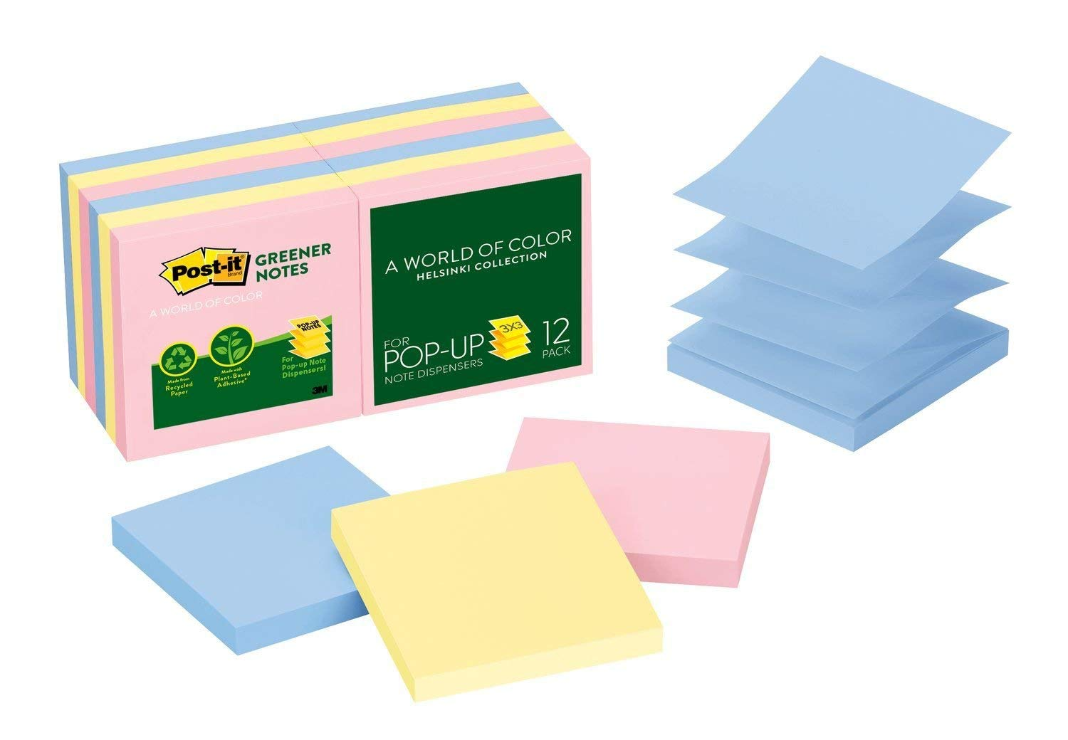 Post-it Greener Pop-up Notes, 3 in x 3 in, Helsinki Collection, 100 Sheets/Pad, 12 Pads/Pack (R330RP-12AP)