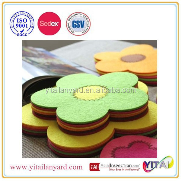 die cut felt flower shapes with your brand logo from dongguan