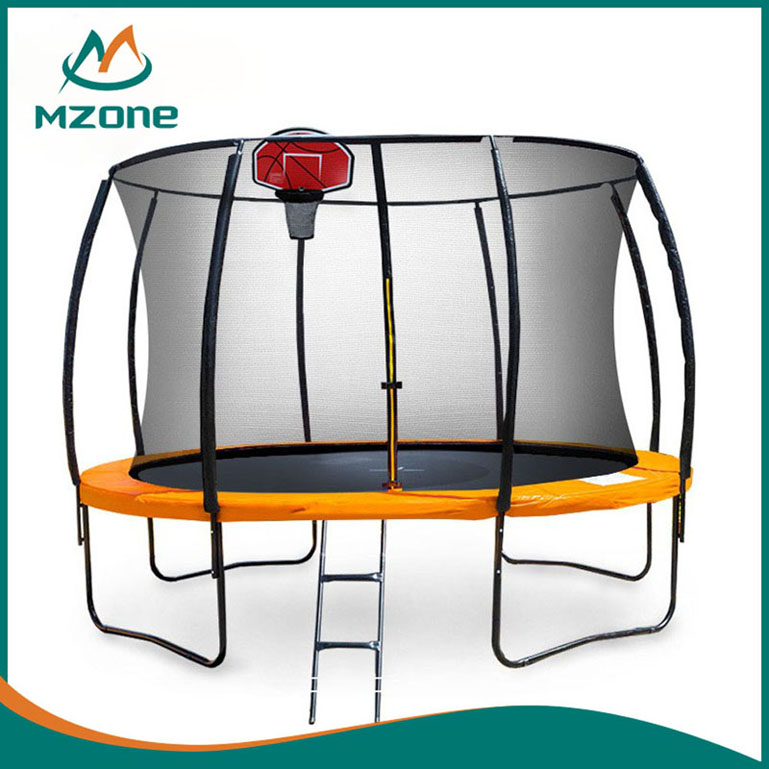 Mzone cheap trampoline with basketball hoop
