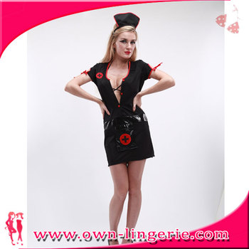 Girls Dress Cosplay Sexy Latex Nurse Costume