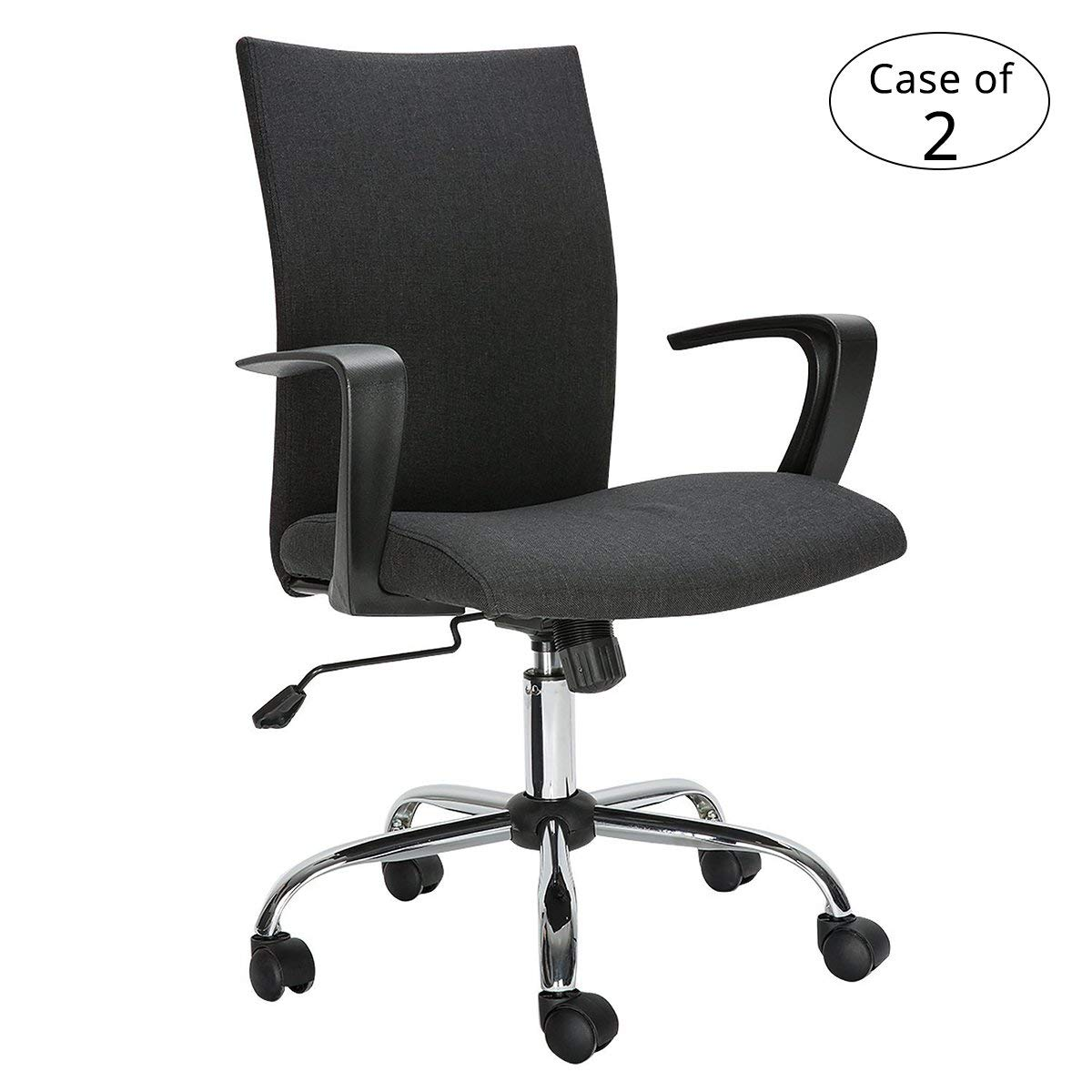 Case of 2, HollyHOME Computer Desk Chair, Comfort Fabric Swivel Home Office Task Chair with Arms and Adjustable Height, Suitable for Computer Working and Meeting