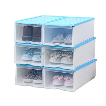 Small Plastic Stackable Drop Front Shoe Storage Box