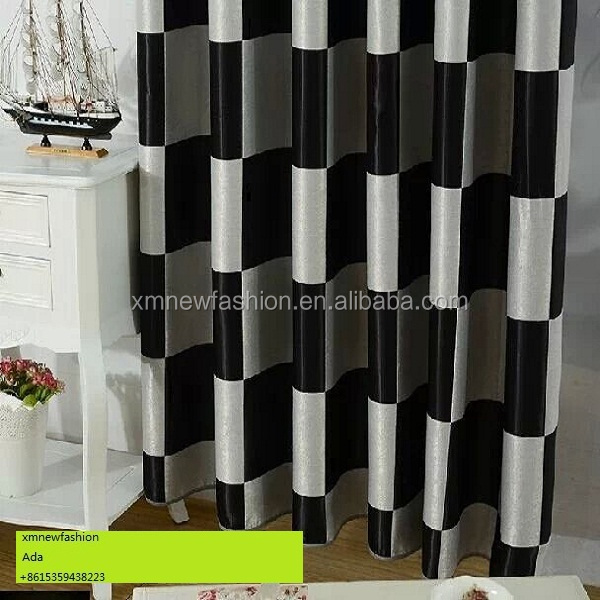 Black And White Patterned Curtain Plain And Classical Style Curtains Blackout Fabric For Curtain