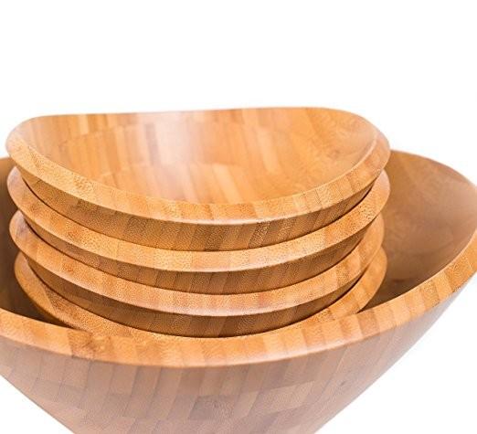 Wholesales cheap practical customized bamboo salad bowl 3