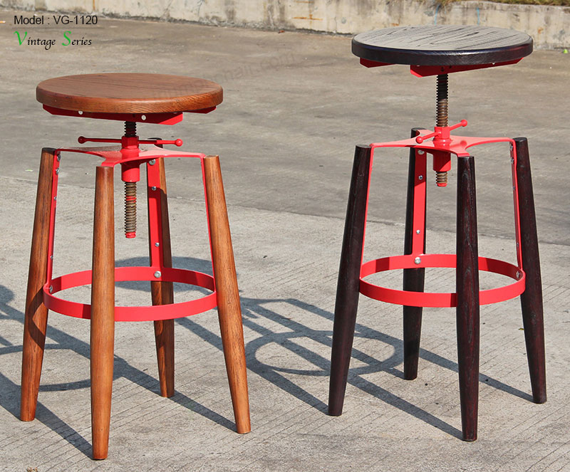 Triumph Japan Adjustable Wood Antique Metal Industrial Bar Stool ...