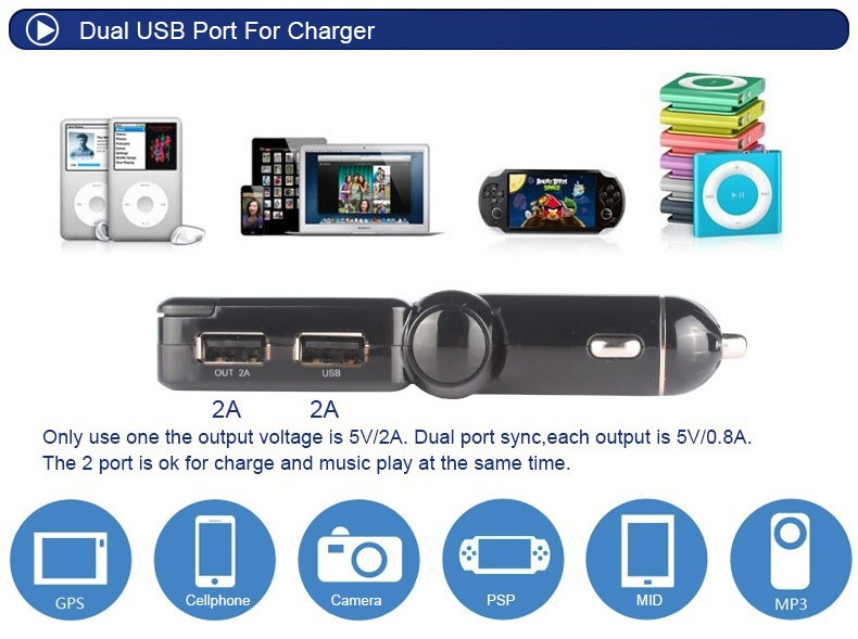 bluetooth car fm transmitter car mp3 player with led. Black Bedroom Furniture Sets. Home Design Ideas