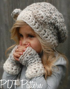 Wholesale Kids knitted Autumn Winter Hats with gloves Knitted Earflap Hood Scarves crochet Animal Ear Cap Beanies