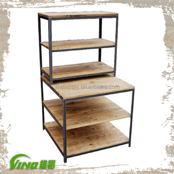 Vintage Steel Wooden Storage Shelves, Compartments Cloth Display Stands,  Custom Logo Easy Assembled Storage