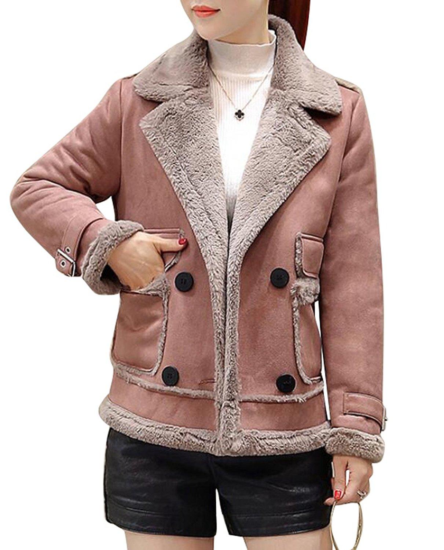 YUNY Women's Thicken Faux Suede Lamb Wool Coat Shearling Jacket