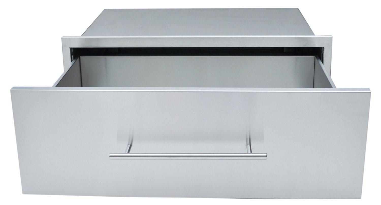 "SUNSTONE DE-MD30 Designer Series Raised Style Height Single Drawer, 30"" x 10"", Stainless Steel"