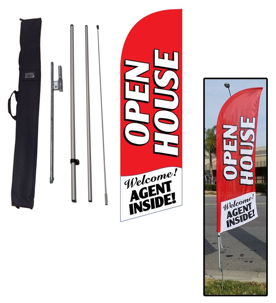 6.5ft Real Estate Open House Feather Banner Flag - INCLUDED CARRY BAG, POLE KIT, and HARDWARE - LIMITED TIME OFFER