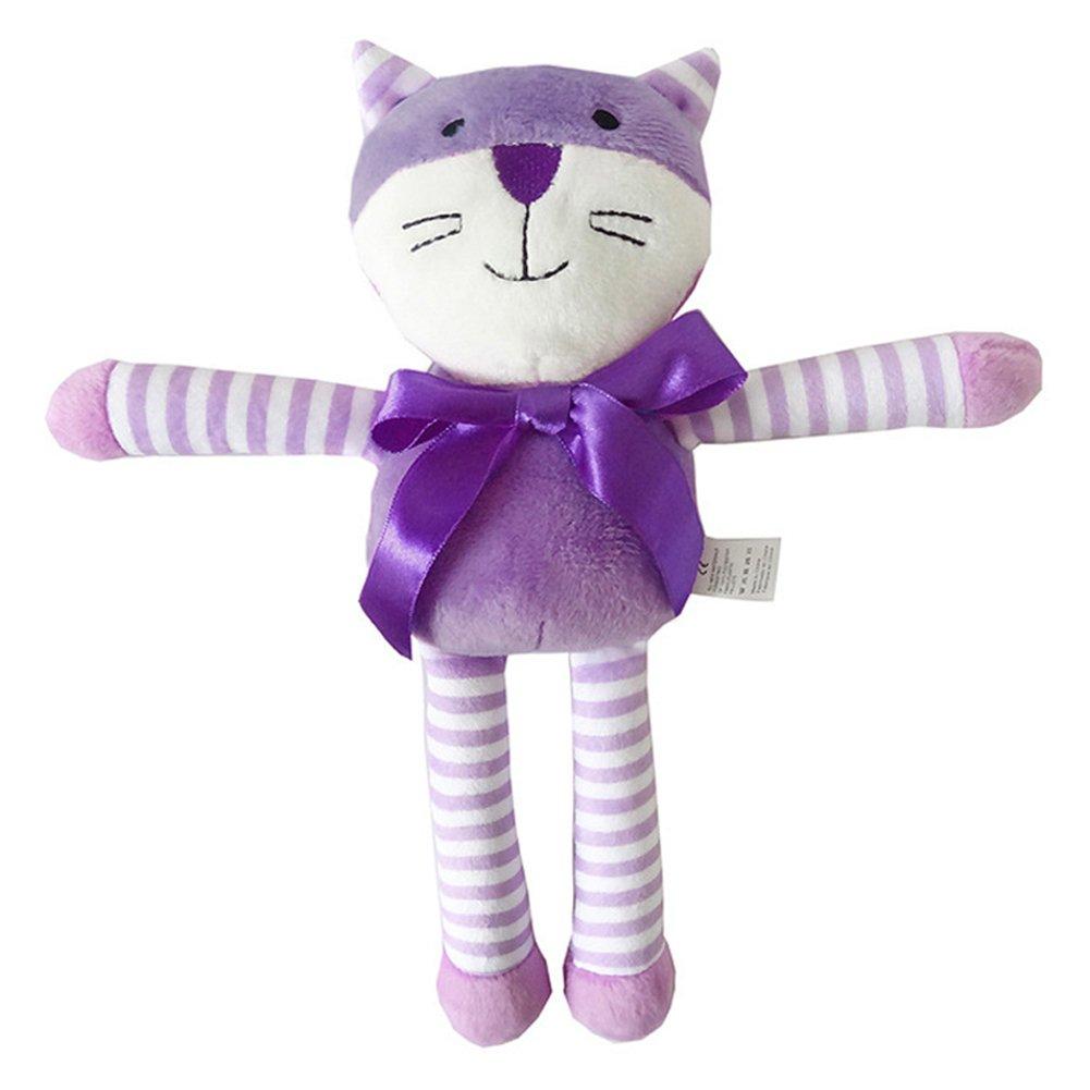 Baby Soft Rattle Toy Newborn Plush Animal Toys Stroller Pram Bed Hanging Toy Dolls (Purple Cat)