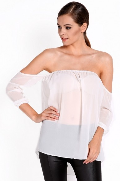 28b809e7cc65e Get Quotations · New Fashion Summer 2014 White Red Sexy Off The Shoulder  Long Sleeve T-Shirt S-L