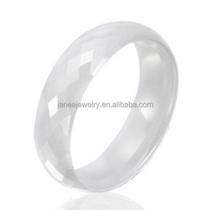 High Tech Ceramic Jewelry Vendor 8mm Domed Faceted White Ceramic Mens Wedding Bands