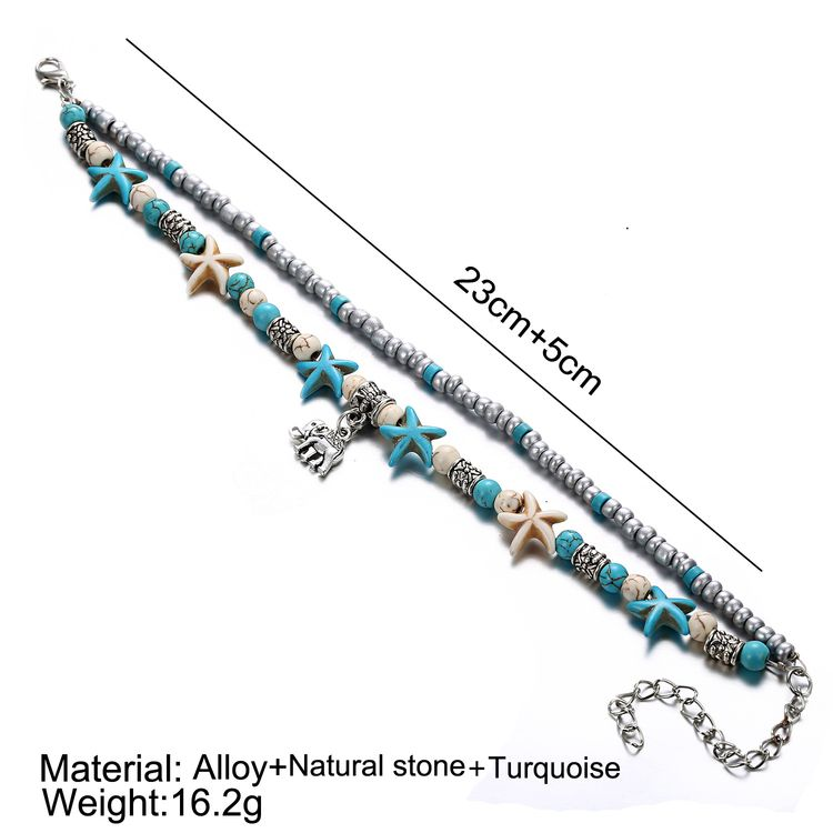 Fashion  Bohemia Style Double-layer Starfish Beed Turtle Charm Anklet For Anklet For Women