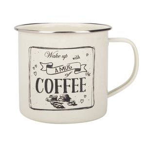 Custom Cream White Enamel Decorative Festival Party Gift powder coating Coffee Milk Tea Drinking Camping Mug