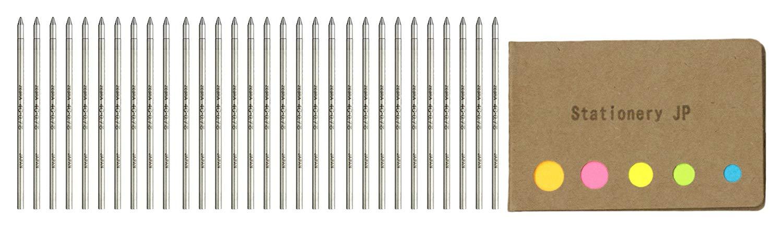 Zebra Ballpoint Pen Refills for T-3 Techo Ball Point Pens & SL-F1 Telescopic Ball Point Pens, Fine Point 0.7mm, Black Ink, 30-pack, Sticky Notes Value Set