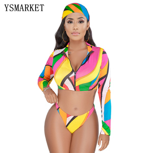 Summer Woman Zipper Deep V Neck Long Sleeve Crop Top And Skinny Shorts Printed Bikini Two Piece Set Beach
