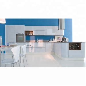 Custom made light grey lacquer modern italian kitchen unit
